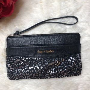 Juicy Couture Black Silver Leopard Wristlet